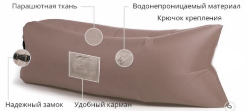 Надувной лежак Ламзак с карманами LAMZAC Россия коричневый