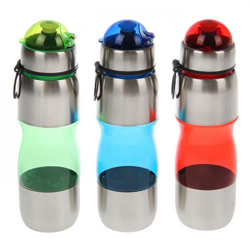 Бутылка для воды 650 мл, велосипедная, фигурная, с поильником, микс, 8х24.5 см