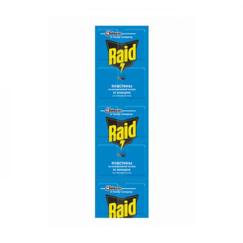Пластины Raid от комаров, для электофумигатора, на аллюминевой основе, 10 шт