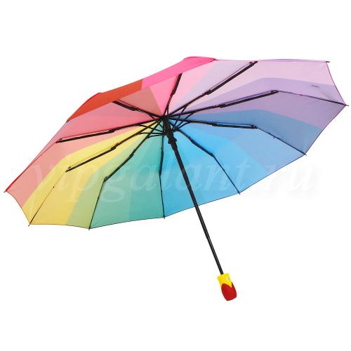 Зонт женский 873 Dolphin 3 сл c-а 10 спиц полиэстер радуга
