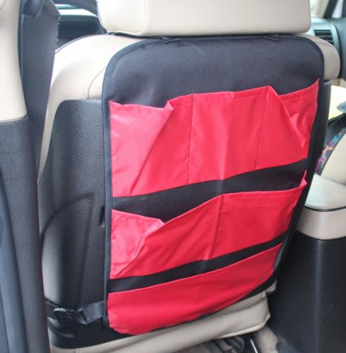 Защита для спинки сиденья + Органайзер для автомобиля, 6 карманов, Красный