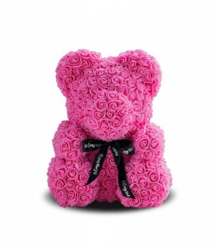 Мишка ручной работы из сотен роз с ленточкой 25 см. розовый Оригинал в коробке