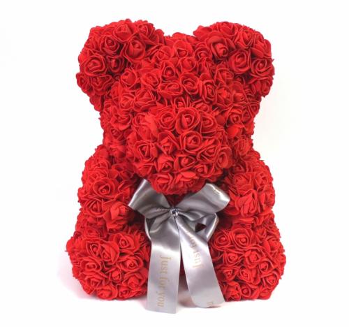 Мишка ручной работы из сотен роз с ленточкой большой красный Оригинал в коробке