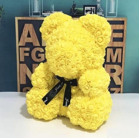 Мишка ручной работы из сотен роз с ленточкой 25 см. желтый Оригинал в коробке