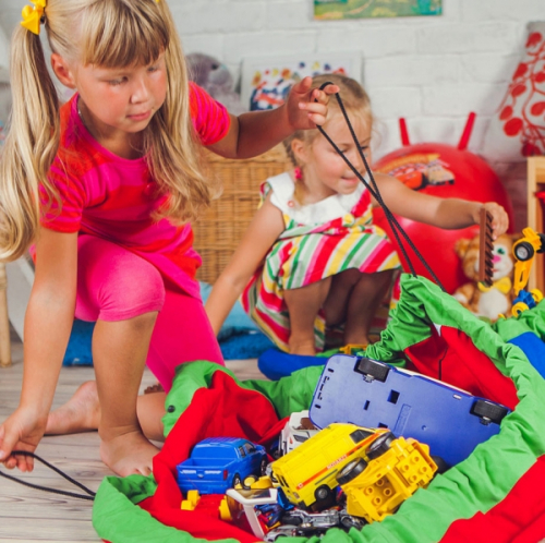 Сумка-коврик для игрушек Toy Bag диаметр 100 см цв. лимонно-синий