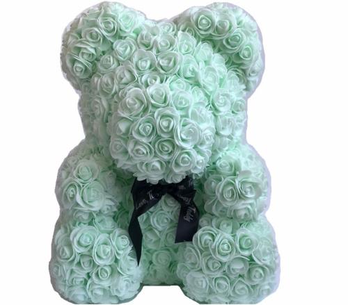 Мишка ручной работы из сотен роз с ленточкой 25 см. мятный Оригинал в коробке