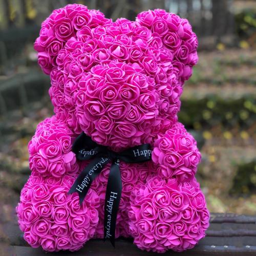 Мишка ручной работы из сотен роз с ленточкой 25 см. малиновый Оригинал в коробке