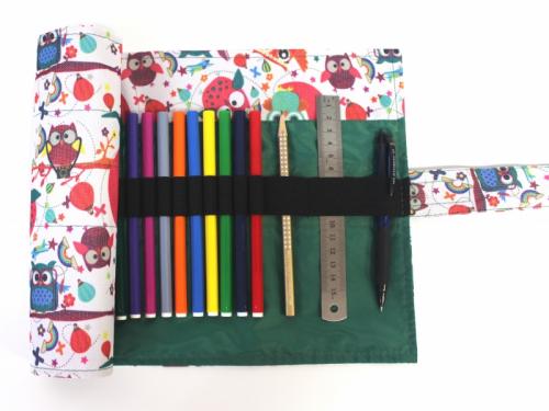 Пенал корпусный для письменных принадлежностей Pencil Case Tuba Совы на белом