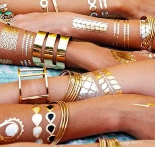 Временные Флэш татуировки Золото, Серебро - 4 листа, 70 шт. Shimmer Jewelry Tattoos в коробочке