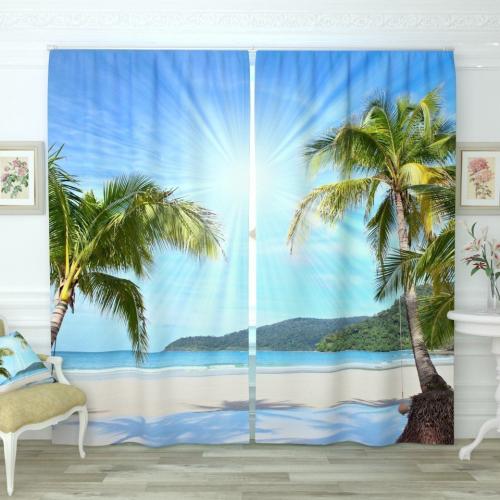 Фотошторы Солнечные пальмы на берегу