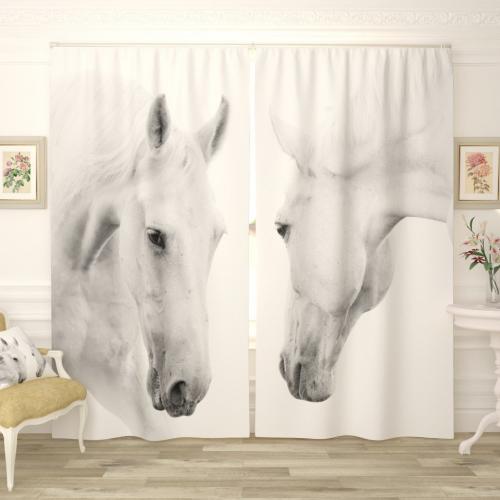 Фотошторы Белые кони