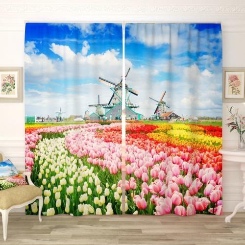 Фотошторы Голландские поля тюльпанов