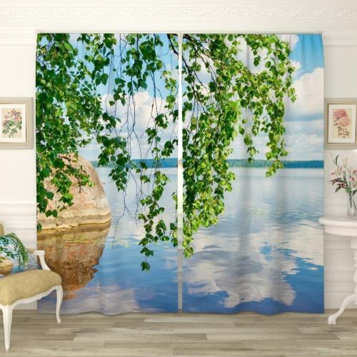 Фотошторы Березовые ветви над озером