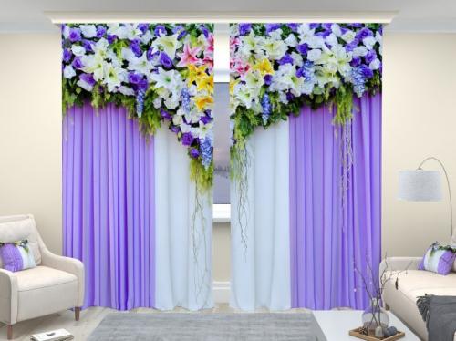 Фотошторы люкс Великолепный цветочный верх