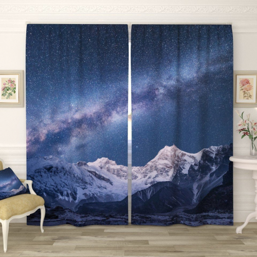 Фотошторы Звёздное небо в горах