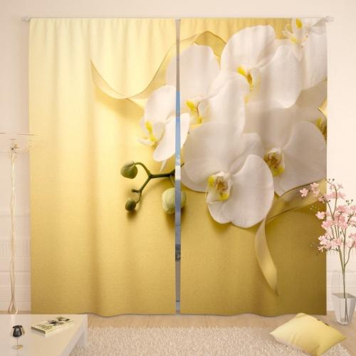 Фотошторы Белая орхидея на желтом