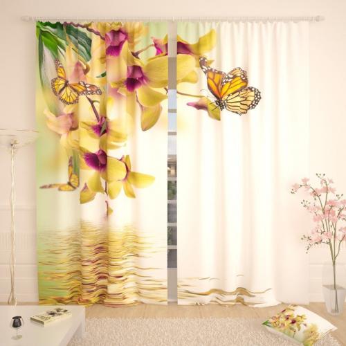 Фотошторы Желтые бабочки на орхидеях