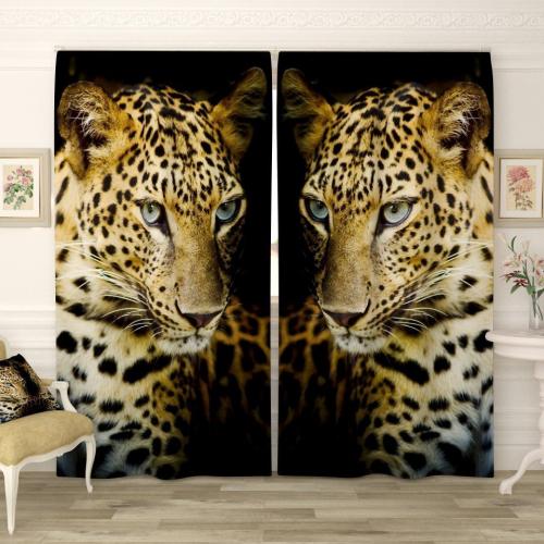 Фотошторы Леопард на черном