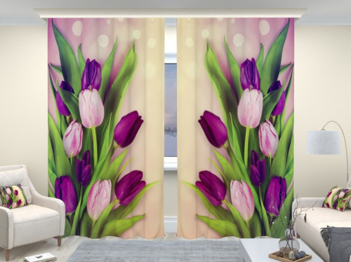 Фотошторы люкс Праздничные тюльпаны