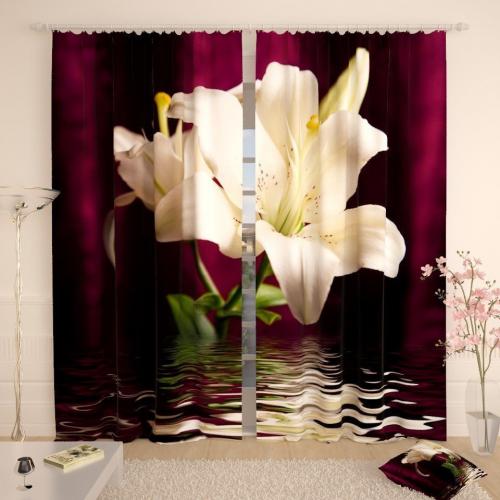 Фотошторы Белая лилия на бордовом фоне