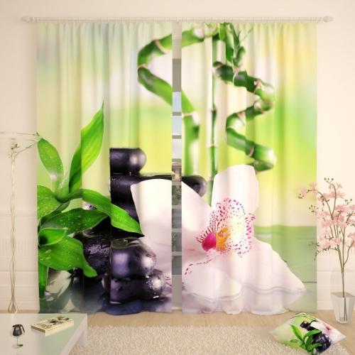 Фотошторы Белая орхидея на базальте