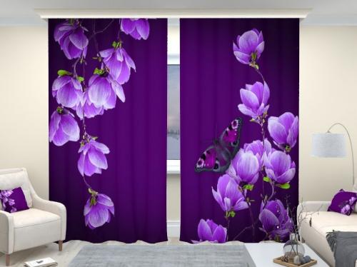 Фотошторы люкс Цветы магнолии на пурпурном фоне