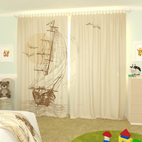 Детские фотошторы Нарисованный кораблик 2