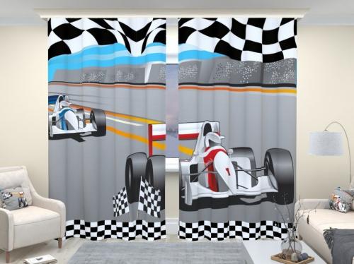 Фотошторы люкс Формула 1 белая