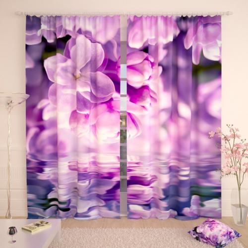 Фотошторы Сиреневые цветения над водной гладью