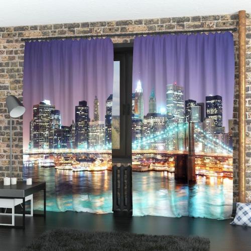 Фотошторы Ночной Бруклинский мост