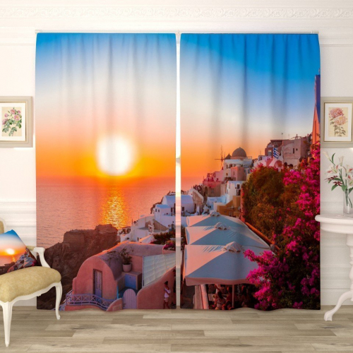 Фотошторы Прекрасный закат в Санторини