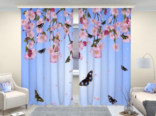 Фотошторы люкс Бабочки и цветы