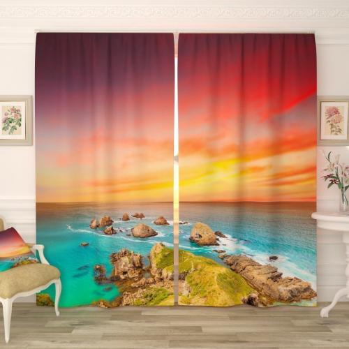 Фотошторы Закат солнца на море