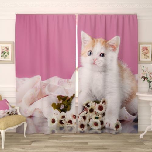 Фотошторы Котёнок с букетом