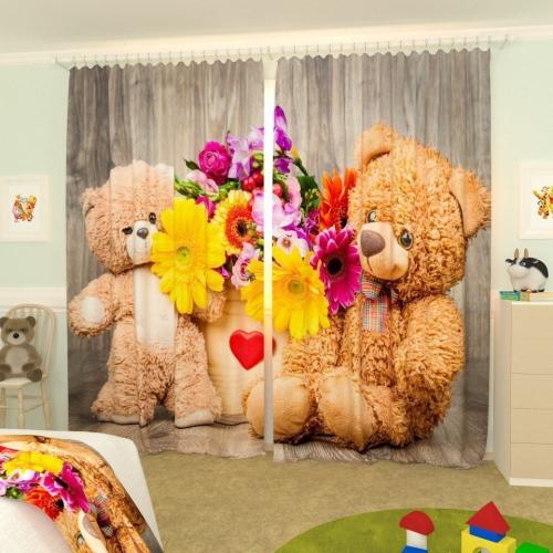 Детские фотошторы Мишки с цветами