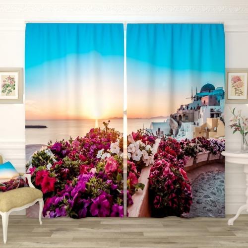 Фотошторы Прекрасный восход в Санторини