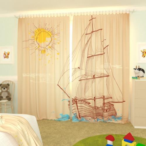 Детские фотошторы Нарисованный кораблик 1