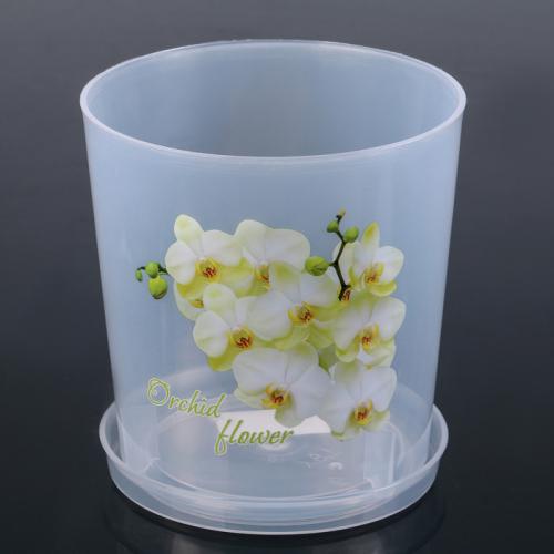 Горшок для орхидей с поддоном 1,8 л, цвет МИКС