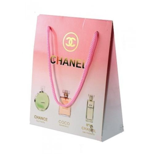 Подарочный набор Сhanel в пакете Chance Eau Fraichе+Сосо Mademoiselle+Сhanel №5 Eau Premiere 3x15 ml (женский)_Копия