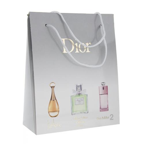 Подарочный набор Christian Dior в пакете J'Adore+Miss Dior Cherie L'Eau+Dior Addict 2 3x15 ml (женский)_Копия