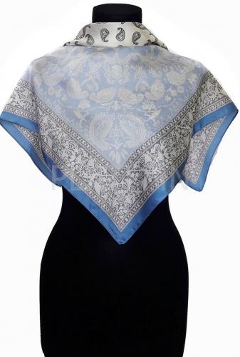 19014 Платок шейный матовый 2в1 Пейсли .голубой1