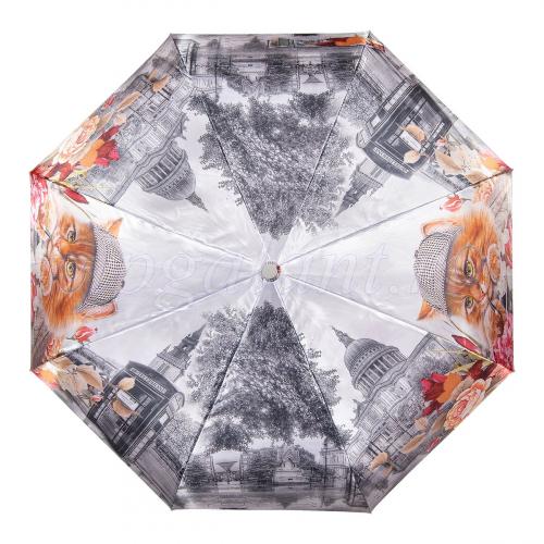 Зонт женский U5554 UTEKI 3 сл с/а фотосатин кошки