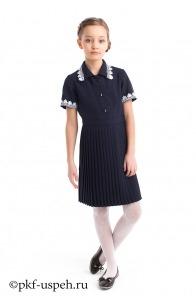 Платье школьное Плиссе короткий рукав (габардин) СИНИЙ, ЧЕРНЫЙ