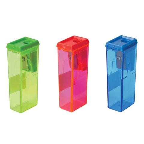 Точилка BEIFA (Бэйфа) с контейнером , прямоугольная, пластиковая, в дисплее, ассорти, APS112