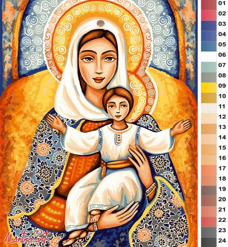 Мадонна с младенцем Картины-раскраски по номерам 40х50