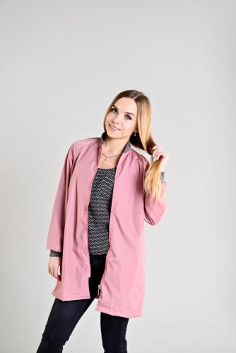 990 1240Удлиненный женский бомбер,цвет-розовый