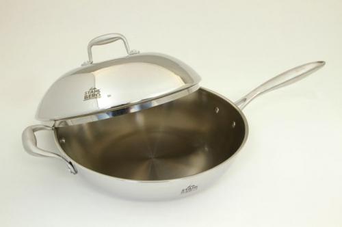 1617-S STAHLBERG Сковорода-вок OSTEN с металлической крышкой 32х10 см /4,7 л. с трехслойным корпусом, индукционное дно (нержавеющая сталь)