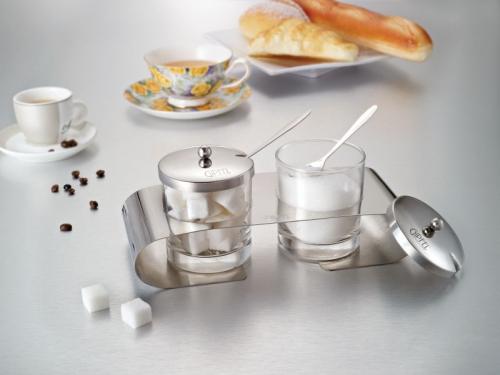 7040 GIPFEL Набор RENAISSANCE :2 Сахарницы с ложками по 200мл 23,2х9,7х10,2см на подставке (нерж. сталь, боросиликатное стекло)
