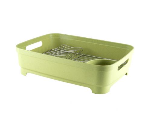 2412 GIPFEL Сушилка для посуды одноярусная с поддоном, 46х34х12см. Цвет: зеленый. Материал: пластик АВС , нерж. сталь.