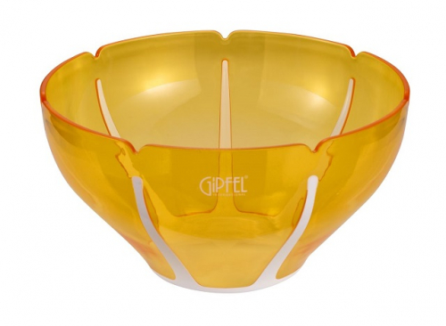 9447 GIPFEL Салатница с двойными стенками AMADEUS 26х26х14,3см цвет белый с желтым Материал : AS